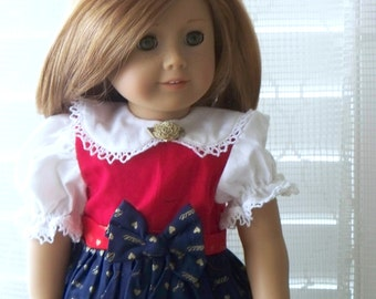 American Girl Doll Clothes, Red and Blue Christmas Doll Dress, Fits American Girl Doll or 18 inch doll