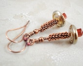 Earrings. Dangle. Copper coils. Gemstone. carnelian cube. Whimsical. ON SALE NOW. Free shipping. Devine Designs Jewelry