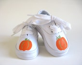 Boys Pumpkin Shoes, Hand Painted Kid's Canvas Sneakers, Thanksgiving, Baby or Toddler