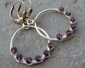 Natural Amethyst - Wire Wrapped - Hoop Earrings - Lever Back Ear Wires