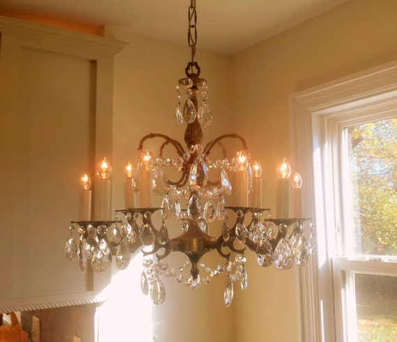 Crystal Chandelier Old: Antique Crystal Chandelier Large 5 Arm 10 Light Made In Spain