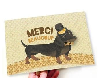 French Printable PDF Dapper Dachshund Dog Merci Thank You Card Yellow, White, Brown, Fun, Clever Card