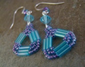 SALE Hand Stitched Beaded Earrings Blue Crystal Purple Silver Plated    1.99 SHIPPING USA