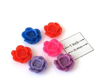 Multi Colors Acrylic 20mm Highly Detailed Flower Cabochons, Set of 6 pc, 1033-33