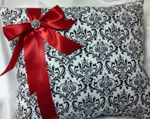 "DAMASK KNEELING PILLOW 14x18""  Madison Black and White with deep red accent or your choice ribbon color quincenera church"