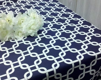 """54x84"""" NAVY TABLECLOTH  Rectangle Geometric Modern Chain Cage Print Overlay"""