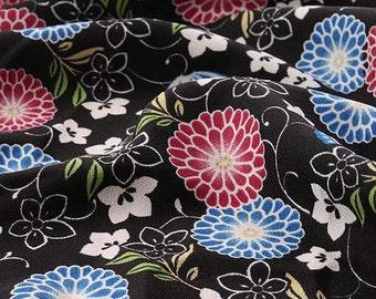 3602 - Japanese Chrysanthemum Butterfly Chirimen Crepe Fabric - 59 Inch (Width) x 1/2 Yard (Length)