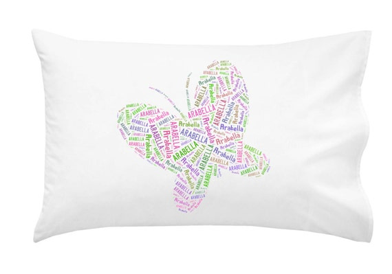 Personalized Butterfly Heart Throw Pillow Cover : Personalized Butterfly Pillowcase Pillow Cover Sleepover