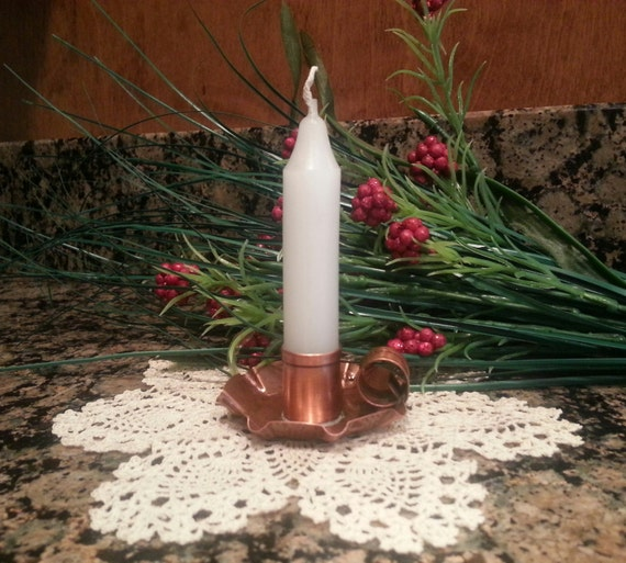 Copper Candle Holder 2 1/4 Inch With Candle By West Tinworks