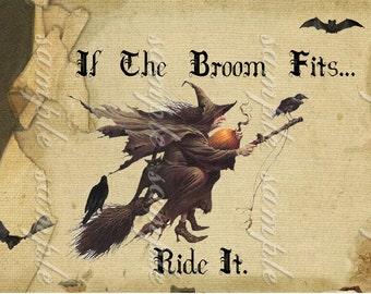 Instant Download - Halloween Tags  If The Broom Fits...-  Digital Download - Printable  Digital Collage Sheet