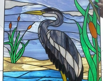 "Stained glass Window - ""Blue Heron"" (W-57)"