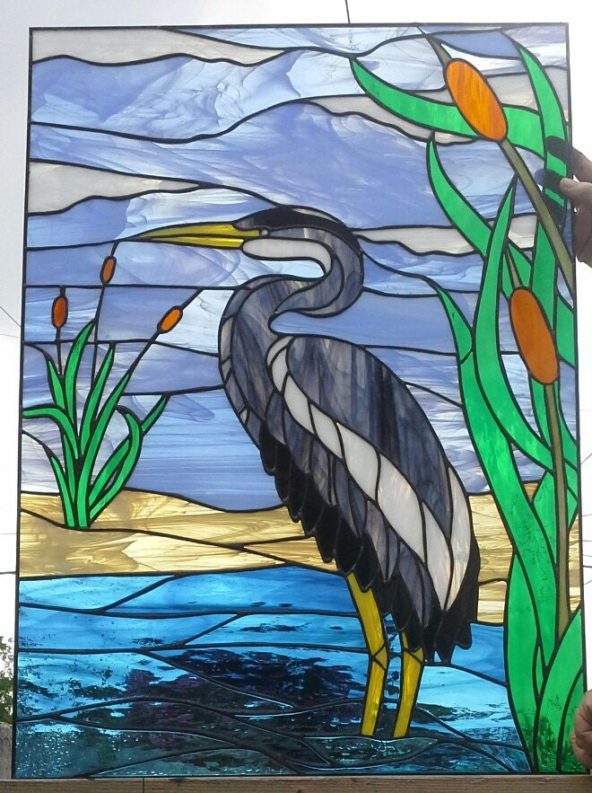 Stained Glass Window Blue Heron W 57