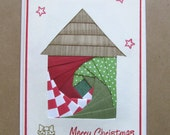 Handmade Christmas Card - Iris Folding House - Merry Christmas