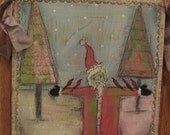 SALE Primitive Folk Art Painting Collage Mixed Media Original PFATT