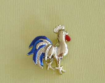 Blue Rooster Vintage Signed Pin Brooch