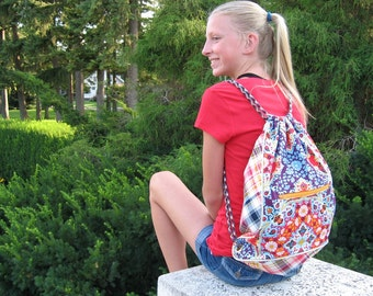 Drawstring Backpack Designer Fabrics Back to School Trend Setting Made to Order