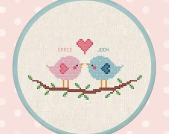 Love Birds. Personalizable Names Cross Stitch Pattern Custom PDF File
