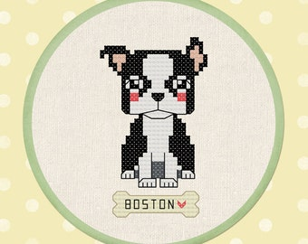 Cute Boston Terrier. Cross Stitch Pattern PDF File