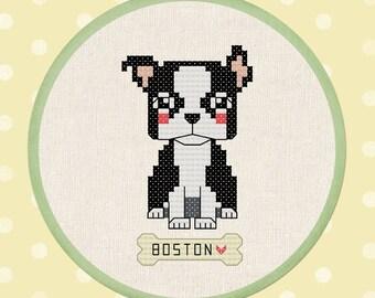 Cute Boston Terrier. Modern Simple Cute DIY Counted Cross Stitch Pattern PDF File