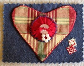 Valentine Heart ACEO textile art card by Lisa