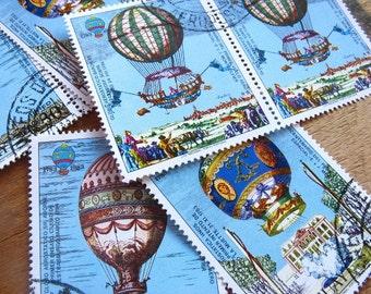 vintage postage - ornate balloons - vintage postage stamp ephemera - 8 individual