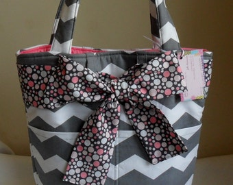 Gray Chevron with Polka Dot Bow and Sash Large Tote Bag Purse