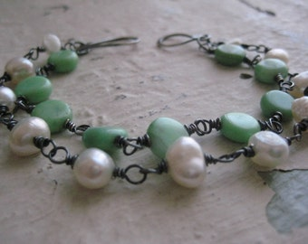 Pearls & Green Agate Double Strand Sterling Silver Bracelet- Oxidized, Wire Wrapped, Rustic