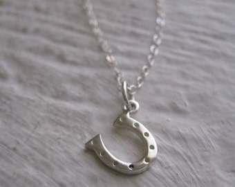 Lucky Horseshoe Necklace- Sterling Silver, Chain, Simple, Everyday Jewelry