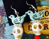 Day Of The Dead Frida Kahlo Mexican Icon Inspired Earrings-Turquoise Bird -Crystals- All the Glory of Day of the Dead