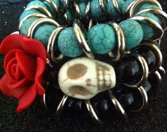 Rockabilly Day of the Dead Uniquely Designed Beaded Cuff Bracelet