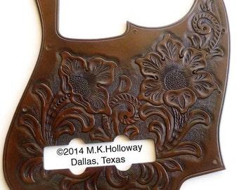Jazz Bass Custom Leather Western Floral Pickguard