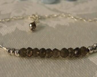Smokey Quartz, Thai Hill Tribe Silver and Sterling Silver Bracelet