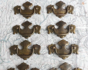 SALE! 10 vintage distressed metal and brass curvy pull handles*