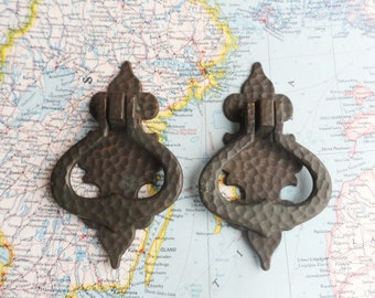 SALE! 2 vintage textured brass metal pull handles w/ trimplates