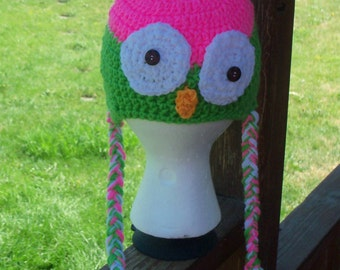 Baby Crochet Owl Earflap Hat 6 to 12 Months