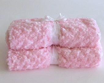 Baby Girl Pink Blanket Luxurious Rose Swirl Print