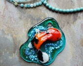 Large Calico Koi Pate De Verre Pendant ** 30%off Sale**