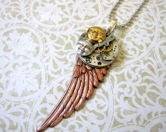 Wing Necklace, Clockworks Necklace, Men's Steampunk, Rocker Necklace, Brass Sun, Silver Moon, Moon Face, Copper Wing, Celestial, Rock Star