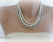 3 strands Rhinestone and Freshwater Pearl Necklace ,Brides ,Weddings