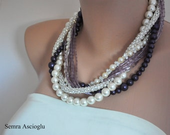 Bold , Bridal, eggplant ,lavender and ivory Pearls and Rhinestone Necklace , brides, bridesmaids gifts