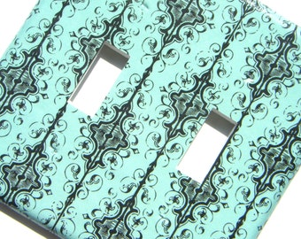 Double Light Switch Cover Switchplate -- Aqua and Black Fancy