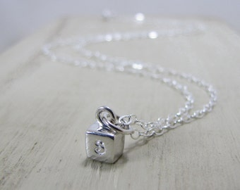 Personalized Jewelry- Sterling Silver Cube Necklace-Tiny Cube Necklace- Custom Initials- Monogram Monogrammed Jewelry