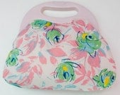 Vintage Toiletry Bag Retro Pink Floral Clutch Bag PVC Waterproof Lined Makeup Cosmetic Bag