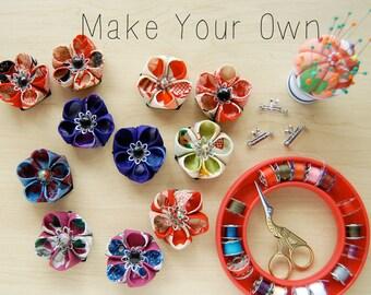 Kimono Fabric Kanzashi Kit - Makes 3 Brooch - Necklaces