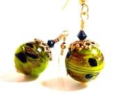 Olive Gold Earrings, Olive Green Gold Black Glass Beaded Earrings, Fall, Autumn