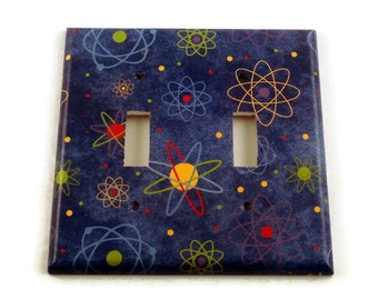 Double Light Switch Cover Switchplate Wall Decor  Switch Plate in Blue Atoms   (103D)