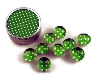 Glass Push Pins  Thumb Tacks Cork Board Pins in Lime Polka Dots  with Gift Tin (PT96)