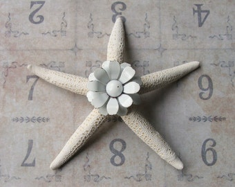 Vintage White Metal Daisy Brooch Pin Jeweled Starfish, Inspirational Bridal Gift, Beach Wedding Cake Decor, Beach Cottage Coastal Style