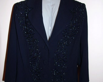 1940s 50s Beaded Blue Suit Jacket Womens Vintage