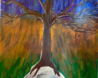 Original Painting; Tree over Skull